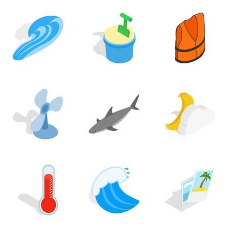 Sea style icons set, isometric style Illustration