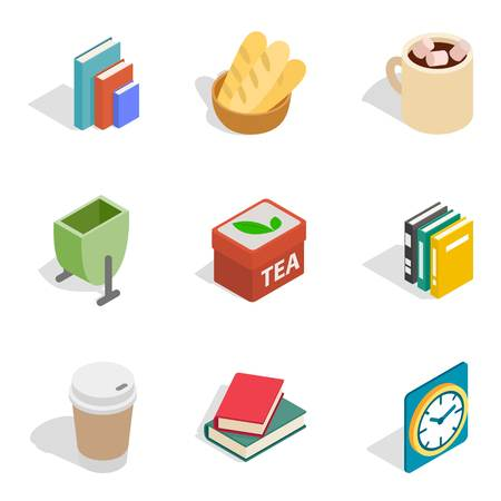 Home rest icons set, isometric style