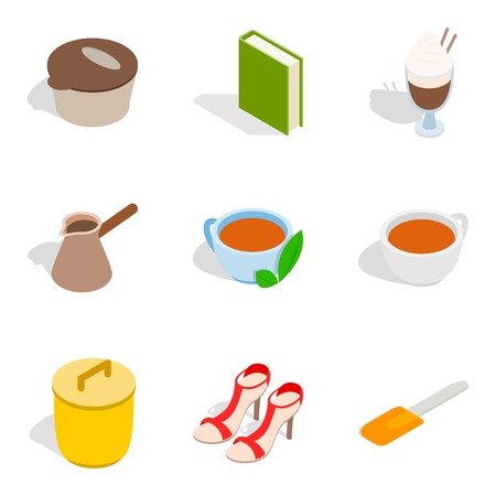Home party icons set, isometric style  イラスト・ベクター素材