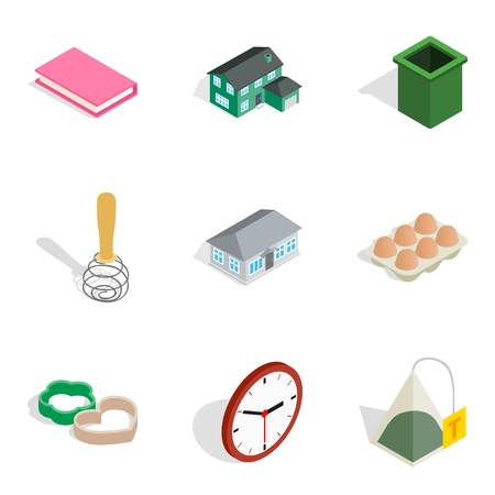 Home environment icons set, isometric style  イラスト・ベクター素材