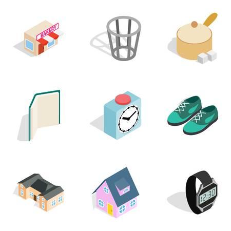 Homelike atmosphere icons set, isometric style