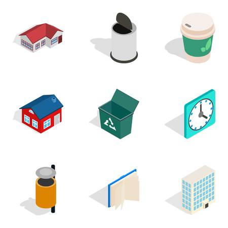 Homely atmosphere icons set, isometric style  イラスト・ベクター素材