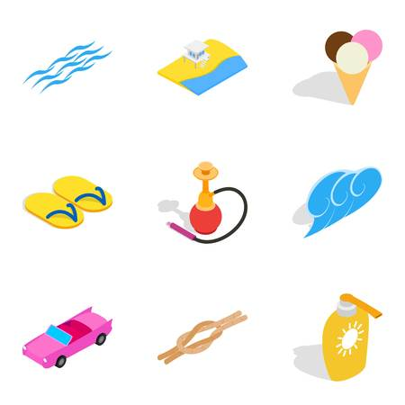 Ocean vacation icons set, isometric style