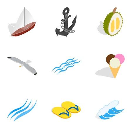 Sea breeze icons set, isometric style