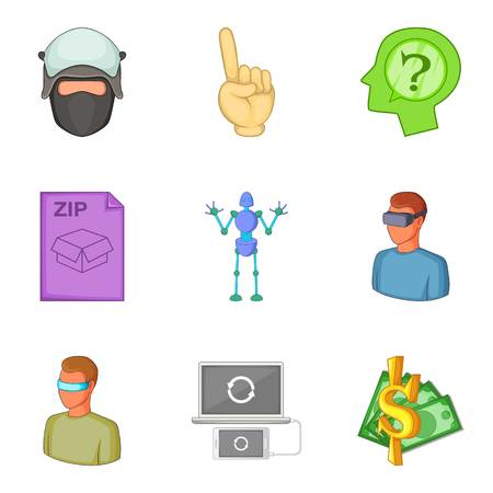 Guarantee icons set, cartoon style Illustration