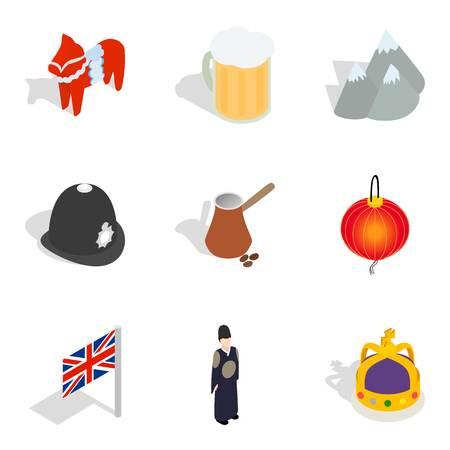 Ethnic community icons set, isometric style Ilustrace
