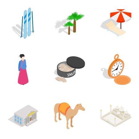 National community icons set, isometric style Ilustrace