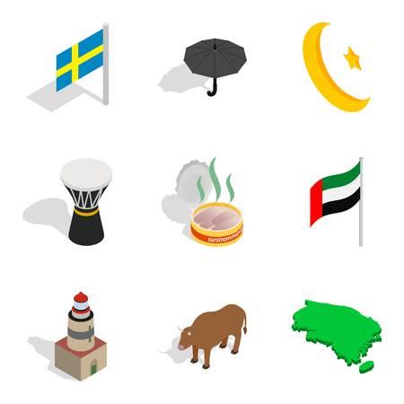 National society icons set, isometric style