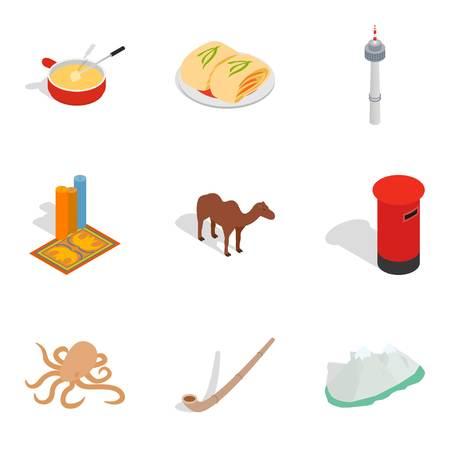 Multitude icons set, isometric style Ilustrace
