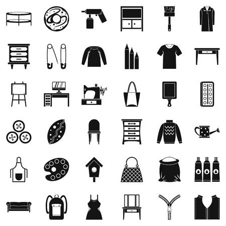 Garment icons set, simple style