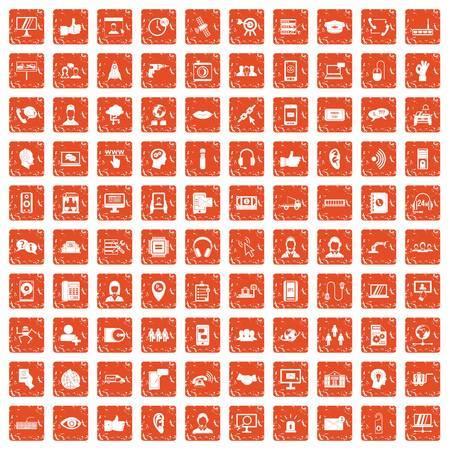 100 call center icons set grunge orange Ilustração