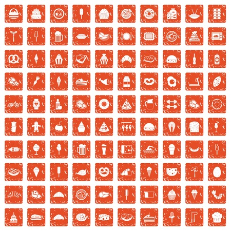 100 calories icons set in grunge style orange color isolated on white background vector illustration