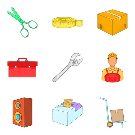 Work service icons set. Cartoon set of 9 work service vector icons for web isolated on white background Çizim