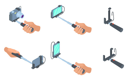 Selfie stick icon set, cartoon style Illustration