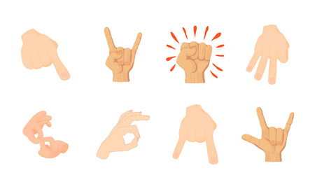 Hand sign icon set. Cartoon set of hand sign vector icons for web design isolated on white background