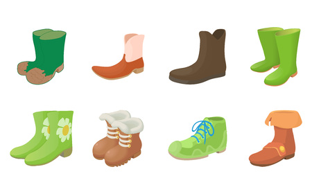 Boots icon set. Cartoon set of boots vector icons for web design isolated on white background Illustration