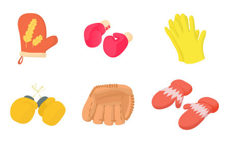 Gloves icon set. Cartoon set of gloves vector icons for web design isolated on white background Vectores