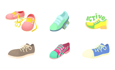Sport shoes icon set, cartoon style Illustration