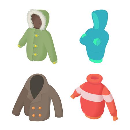 Winter clothes icon set, cartoon style Illustration