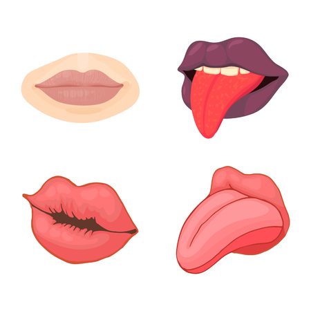 Lips icon set, cartoon style Ilustração