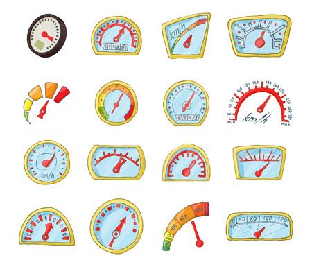 Dash board icon set, cartoon style 向量圖像