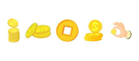 Coin icon set, cartoon style