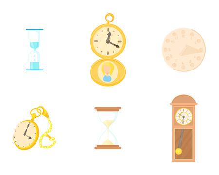 Clock icon set, cartoon style isolated on white background. 向量圖像