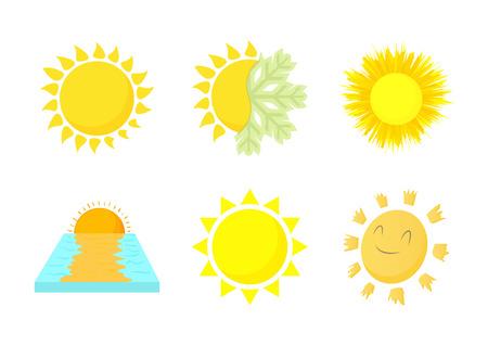 Sun icon set, cartoon style isolated on white background. 矢量图像