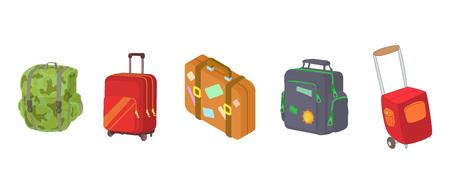 Travel bag icon set, cartoon style isolated on white background. Illustration