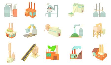Factory icon set, cartoon style isolated on white background. Stock Illustratie