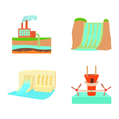 Hydro power icon set, cartoon style isolated on white background.