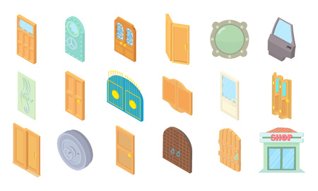 Door icons set. Cartoon set of doors vector icons   isolated on white background. Vector illustration. Illustration