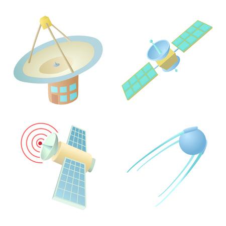 Sattelite icon set. Cartoon set of sattelite vector icons for web design isolated on white background
