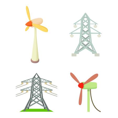 Jeu d'icônes de tour électrique. Ensemble de dessin animé d'icônes vectorielles de tour électrique pour la conception web isolé sur fond blanc Vecteurs
