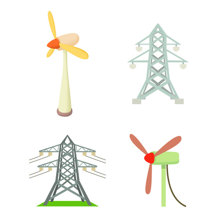 Electrical tower icon set. Cartoon set of electrical tower vector icons for web design isolated on white background