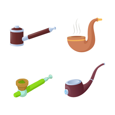 A Smoking pipe icon set, cartoon style isolated on white background.