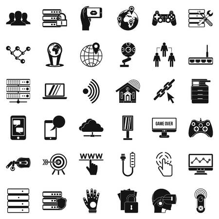 Television network icons set. Simple set of 36 television network vector icons for web isolated on white background