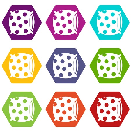 Pillow with dots icon set color hexahedron
