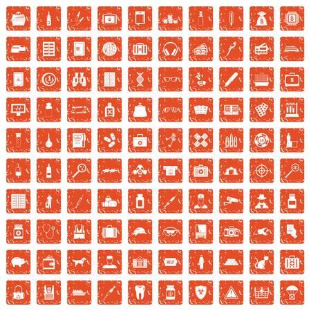 100 icone del caso hanno impostato l'arancio del grunge isolato su priorità bassa normale. Archivio Fotografico - 96075490