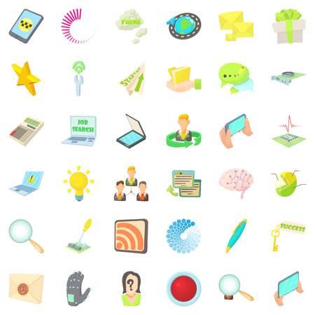Announcer icons set, cartoon style Ilustração
