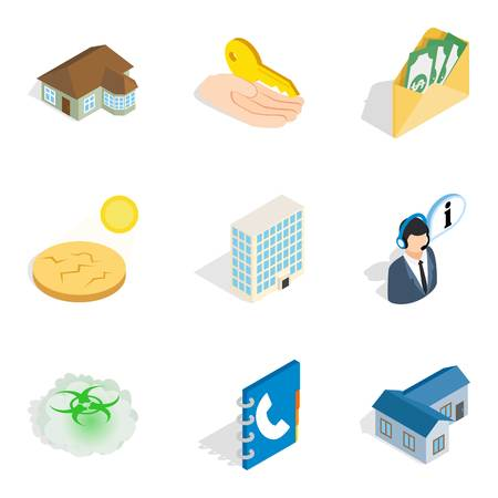 Construction icons set. Isometric set of 9 construction vector icons for web isolated on white background