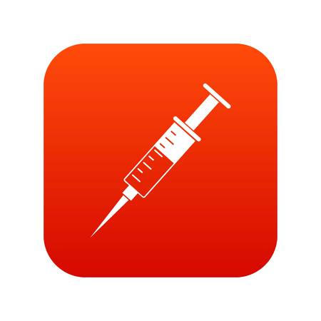 Syringe icon digital red for any design isolated on white vector illustration