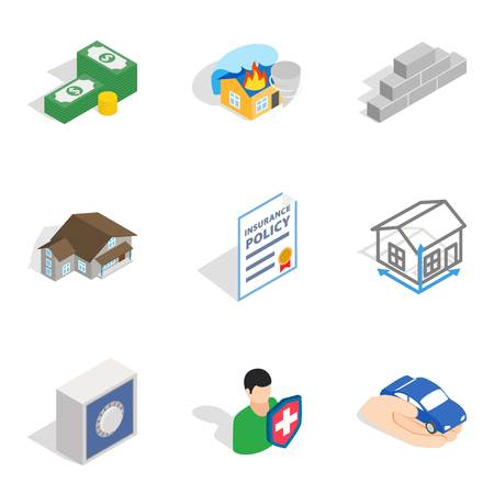 Creation icons set, isometric style isolated on plain background.