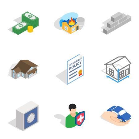 Oprichting iconen set, isometrische stijl geïsoleerd op effen achtergrond.