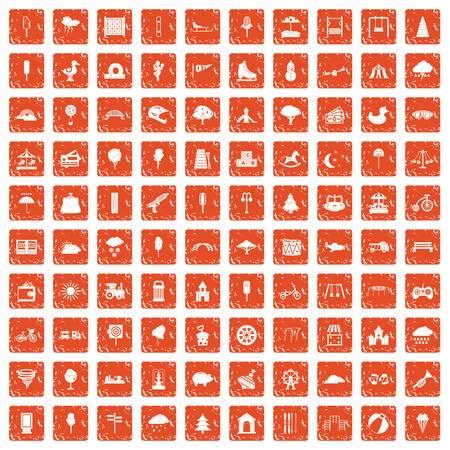 100 childrens park icons set grunge orange