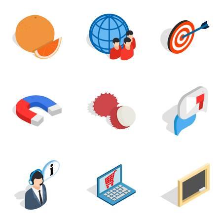 Purchasing icons set, isometric style
