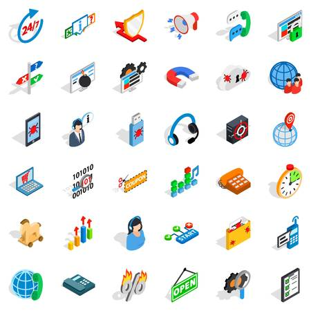 Lan network icons set. Isometric set of 36 lan network vector icons for web isolated on white background
