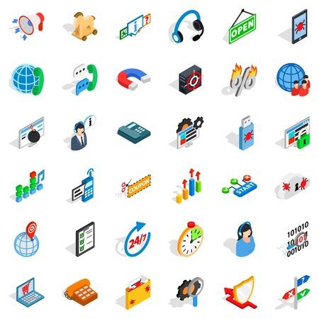 Electronic network icons set, isometric style Illustration
