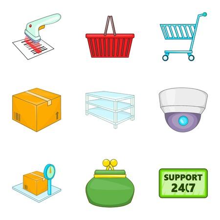 Admission icons set, cartoon style