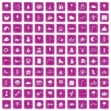 100 childrens parties icons set grunge pink